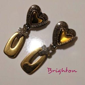 Brighton 2-tone Heart Drop Post Back Earrings